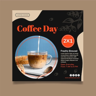 Kaffeetag im quadrat flyer vorlage
