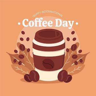 Kaffeetag mit kaffee in der tasse zum mitnehmen