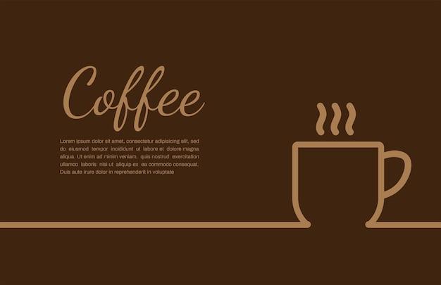 Kaffeetasse auf braunem hintergrund mit exemplar für ihren text
