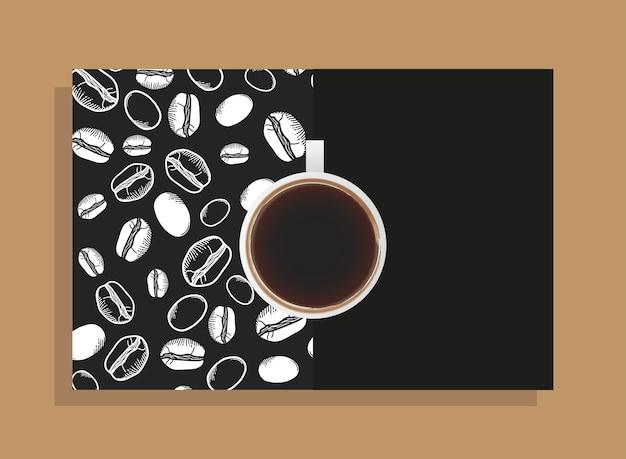 Kaffeetasse auf schwarzem plakat mit bohnenthema