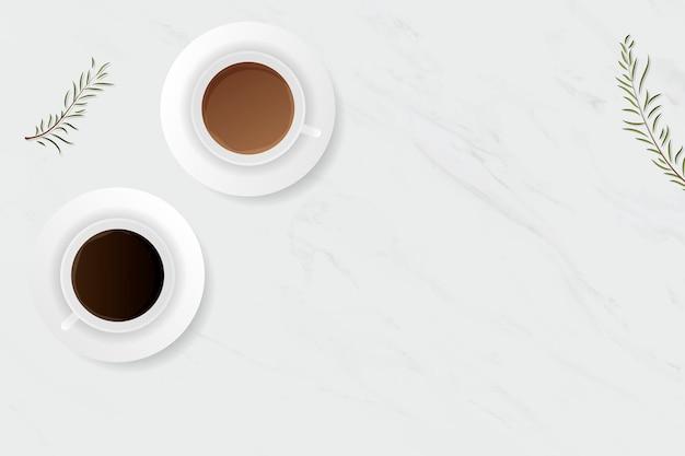 Kaffeetasse auf weißem marmorhintergrund