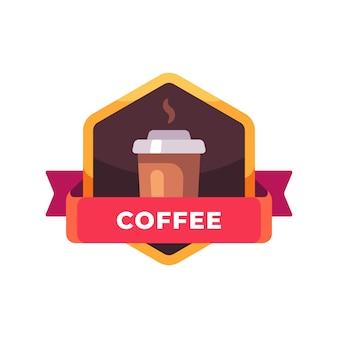 Kaffeetasse aus kunststoff. fast-food-etikett