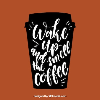 Kaffeetasse design mit schriftzug