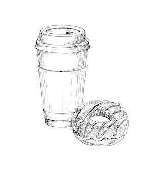 Kaffeetasse-getränk und donut-illustration