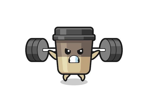 Kaffeetasse-maskottchen-cartoon mit einer langhantel, süßes design für t-shirt, aufkleber, logo-element