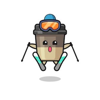 Kaffeetasse-maskottchen-charakter als skispieler, süßes stildesign für t-shirt, aufkleber, logo-element