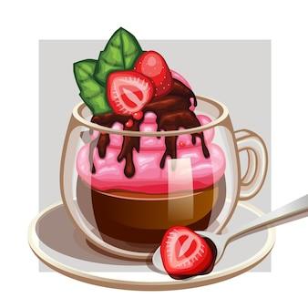 Kaffeetasse mit erdbeercreme im format