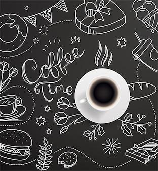 Kaffeetasse mit kritzeleien.