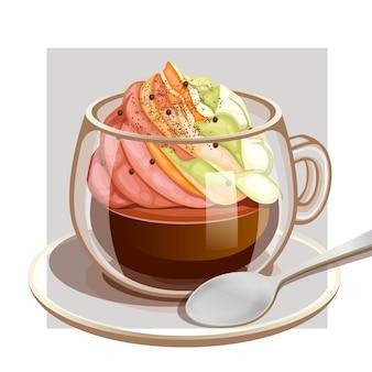 Kaffeetasse mit regenbogen-vanillecreme