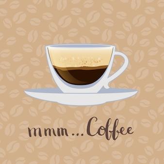 Kaffeetasse mit schriftzug auf kaffeebohnen