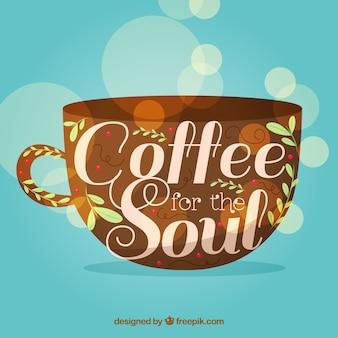 Kaffeetasse silhouette hintergrund mit schriftzug