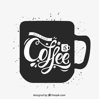 Kaffeetasse silhouette mit schriftzug