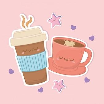 Kaffeetasse trinken kawaii charakter