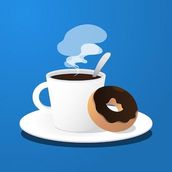 Kaffeetasse und donut des dessertkonzepts