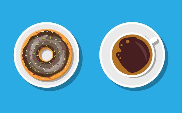 Kaffeetasse und donuts mit schokoladencreme.