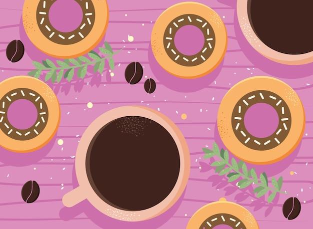 Kaffeetasse und donuts
