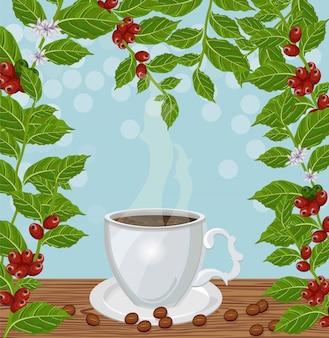 Kaffeetasse und frischer kaffee wachsender vektor