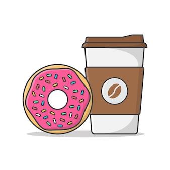 Kaffeetasse und leckerer donut lokalisiert auf weiß