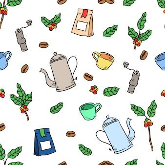 Kaffeetasse und pflanzenzeichnung nahtloses muster