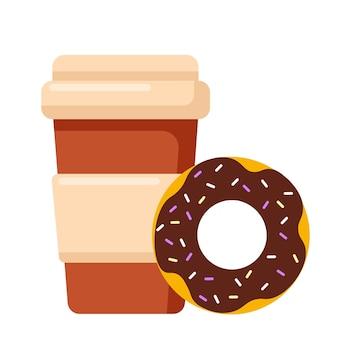 Kaffeetasse und schokoladenkrapfen. leckeres frühstück