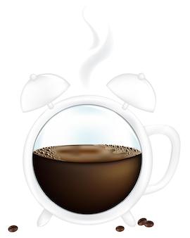 Kaffeetasse wecker, isoliert auf weiß