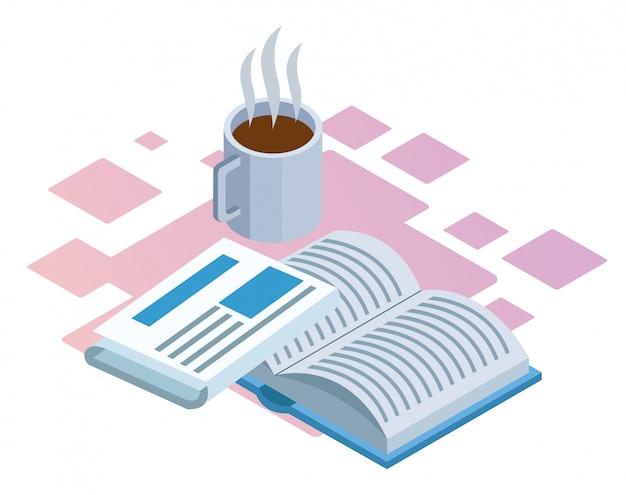 Kaffeetasse, zeitung und buch über dem weißen hintergrund, buntes isometrisches