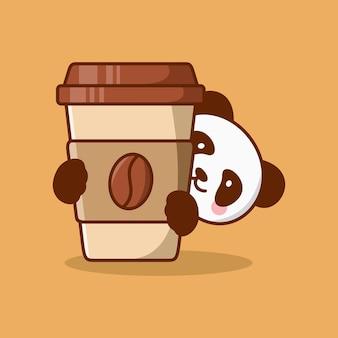 Kaffeetassekarikatur mit niedlicher pandavektorikonenillustration