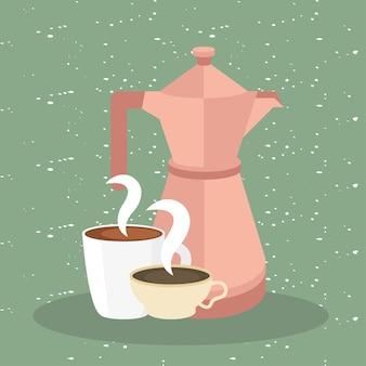 Kaffeetassen und kanne auf grüner illustration