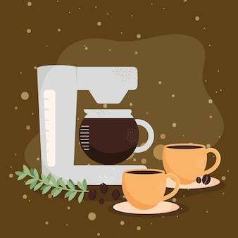 Kaffeetassen und maschine