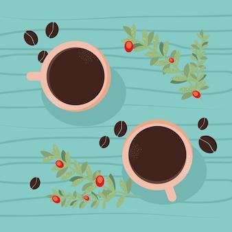Kaffeetassen und pflanzen