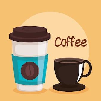 Kaffeetassen zwei variationen einweggetränk
