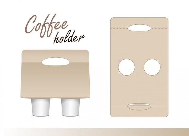 Kaffeetassenkartonhalter mit stanzung. papierpackungshalter. pappkaffeetassenhalter zum mitnehmen geschnitten und gefaltet