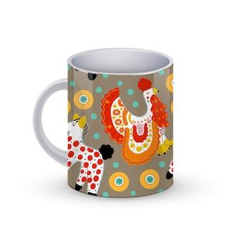 Kaffeetassenschablonenillustration mit schönem muster mit hahn und pferd im russischen dymkovo-stil. .