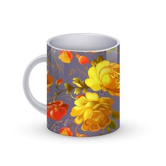 Kaffeetassenschablonenillustration mit traditionellem blumenmuster russlands.