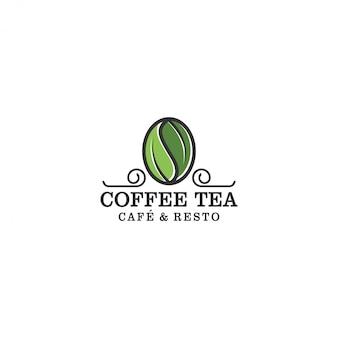 Kaffeeteelogo für café- oder markenaufkleber
