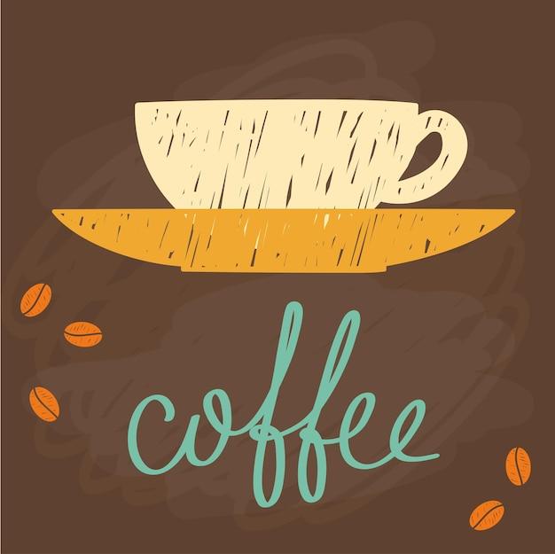 Kaffeethema. gekritzel handgemachte skizze. hand gezeichnete kaffeebuchstaben.