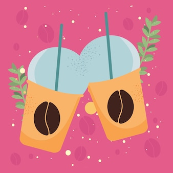 Kaffeetöpfe und -blätter
