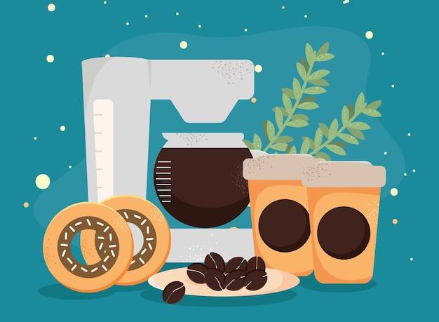 Kaffeetöpfe und -maschine
