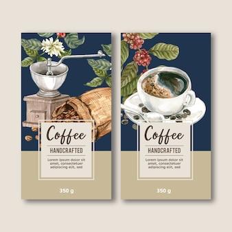 Kaffeeverpackungsbeutel mit niederlassung verlässt bohne, herstellermaschine, aquarellillustration