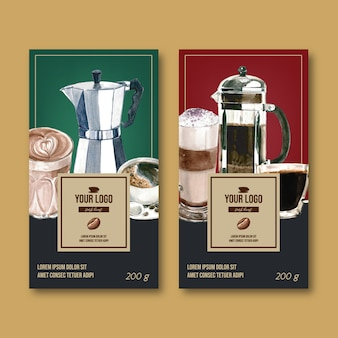 Kaffeeverpackungstasche mit niederlassung verlässt bohne, weinlese, aquarellillustration