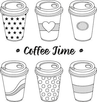 Kaffeezeit, eine tasse kaffee im doodle-stil
