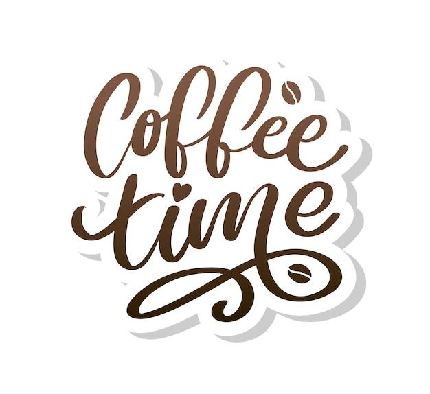 Kaffeezeit hipster vintage stilisierte beschriftung. illustration