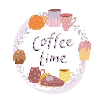 Kaffeezeit schriftzug im blumenrahmen mit tassen und desserts