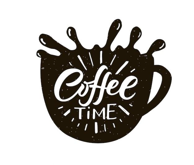 Kaffeezeit-schriftzug kaffee zum mitnehmen tasse moderne kalligraphie-kaffee-zitat von hand skizziert inspirierend