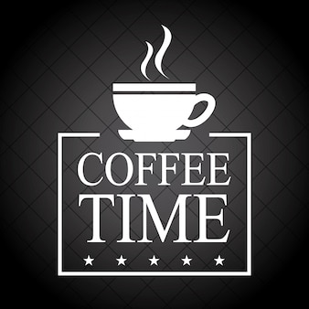 Kaffeezeit über schwarzer hintergrundvektorillustration