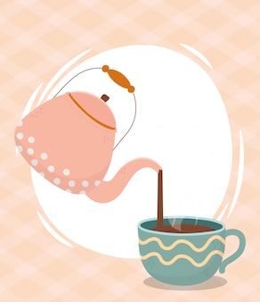 Kaffeezeit, wasserkocher in tasse frisches aromagetränk gießen