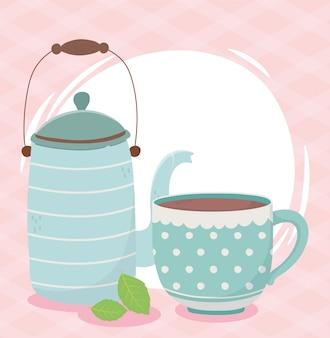 Kaffeezeit, wasserkocher und tasse hinterlassen ein frisches aromagetränk