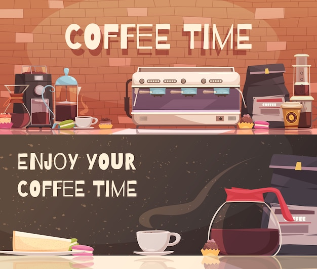 Kaffeezeit zwei horizontale banner