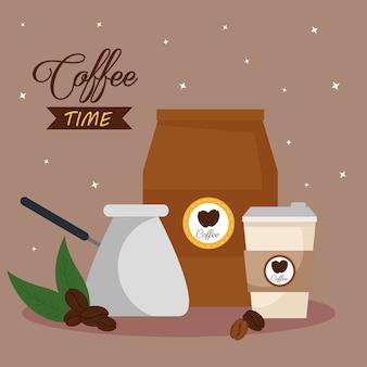 Kaffeezeitbanner mit ikonen-dekorationsillustrationsentwurf