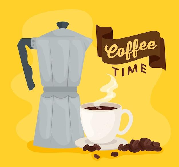 Kaffeezeitbanner mit moka-topf und tasse keramikillustrationsdesign